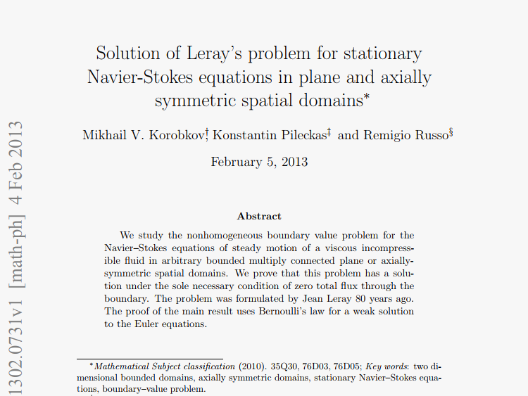 "Chebyshev Laboratory » ""Solution of Leray's problem for the"