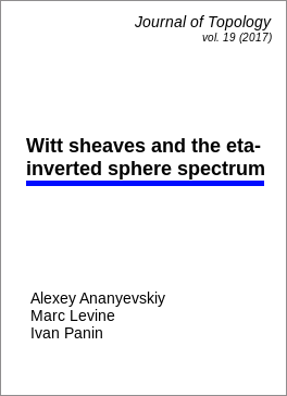 Witt sheaves and the $\eta$-inverted sphere spectrum